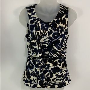 Ann Taylor sleeveless blue white cream blouse EUC